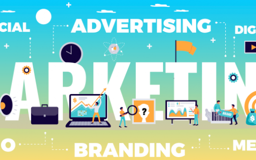 digital-marketing-concept-with-online-advertising-and-media-symbols-flat